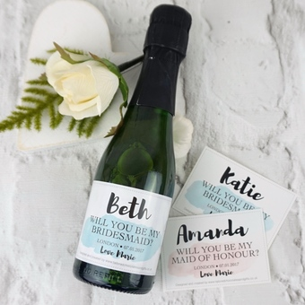 Will you be my bridesmaid? Champagne or prosecco gifts