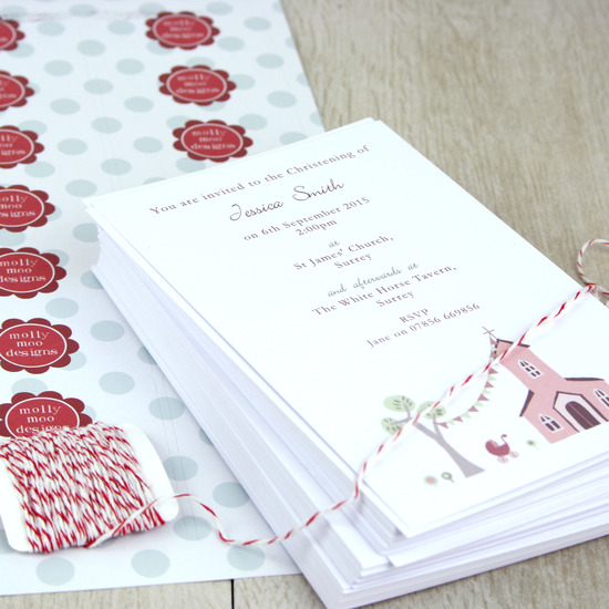 personalised christening invitations from molly moo designs