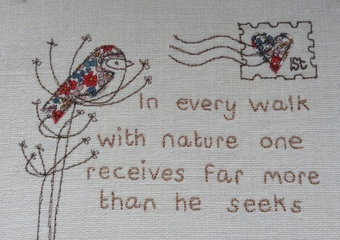 Embroidered quote