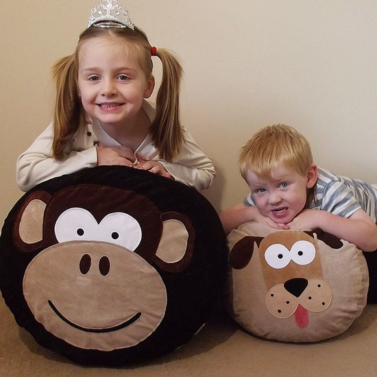 Personalised Bean Bags.  Medium size Melvin Monkey and small size Digby Dog.