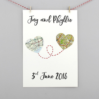 personalised map heart print location gifts for wedding anniversary engagement gifts