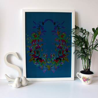 Floral Wreath Art Print in Teal and lilac