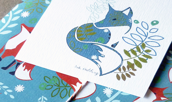 ink pudding fox notecards