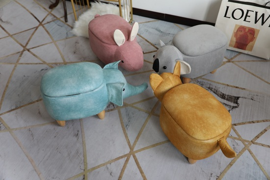 Adorable Footstools, a fox, a koala bear, a rabbit and an elephant. All with storage compartment.