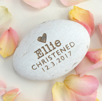 Personalised Engraved Christening stone from Letterfest