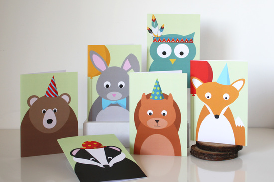 Woodland Party Animal Greetings Cars