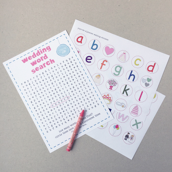 wedding word search and wedding stickers