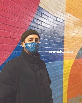Mrsk Club's Blue mask design against a London mural.