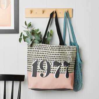 personalised birth year shopping bag