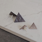 Geometric Triangle Leather Stud Earrings