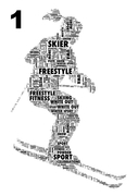 Personalised word art print of a skier. created using only Your words, for a gift that`s Different by Design..
