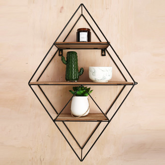 Geometric Black Wire Shelf