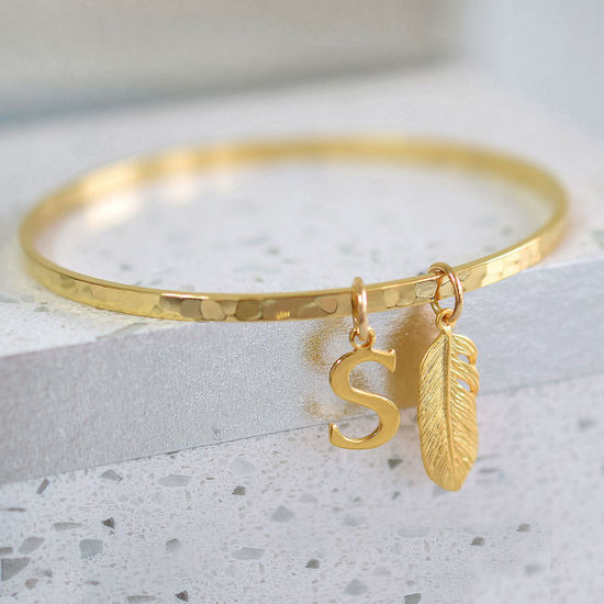 Belle Ami Personalised Hammered Bangle with Boho Feather Charm