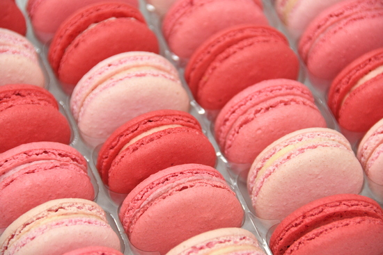 Rose, Raspberry and Strawberries & Cream Macarons