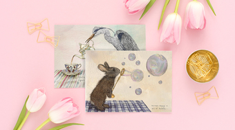 rabbit and heron quirky cards