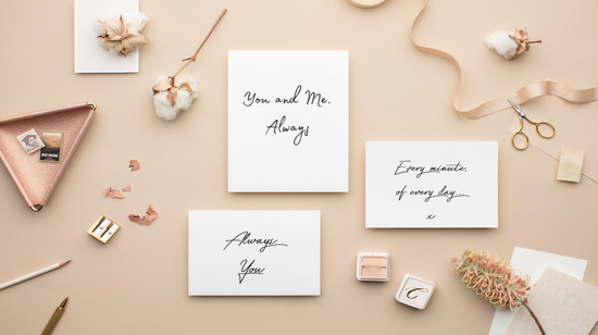 Romantic cards on flat lay