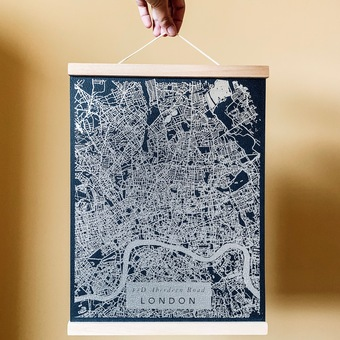 personalised metallic map print coral & moss
