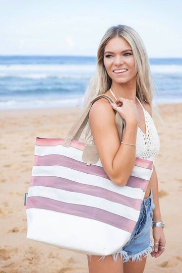 Oversized Tote Shopper from Upcycled Deckchair Canvas