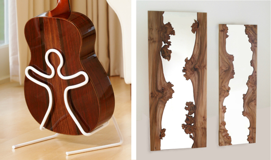 Boing guitar stand and River  Mirrors by Caryn Moberly