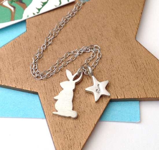 Rabbit Necklace With Initial Star by Zelda Wong