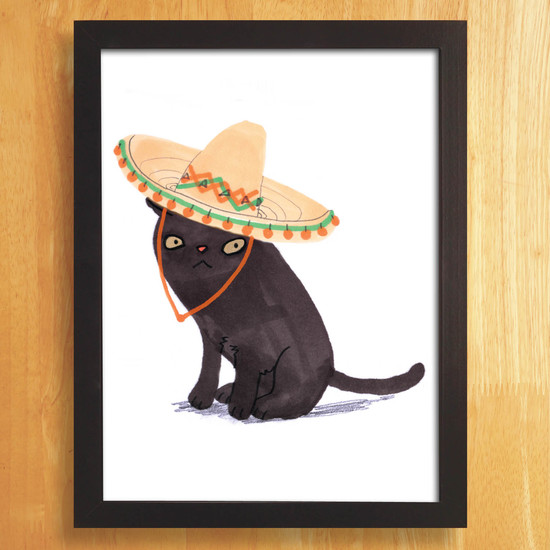 Illustration of Black cat in a sombrero hat.