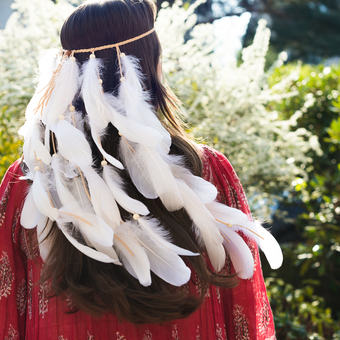 White Boho Feather Headpiece