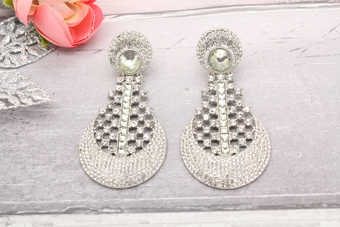 Silver stonework earrings