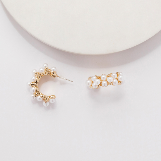 Gold and Pearl Small Hoop Earrings