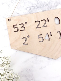 Wooden Coordinate Sign