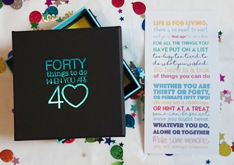 The perfect 40th birthday gift. 40 activities in sealed envelopes to make memories and create adventures
