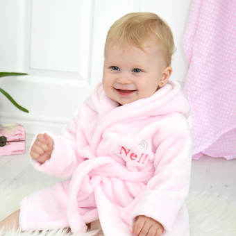 personalised girls pink robe