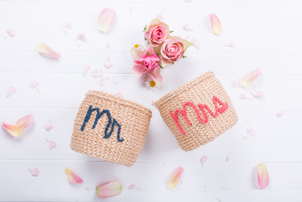 Mr & Mrs Embroidered Baskets