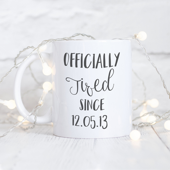 personalised officially tired mug
