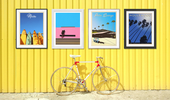 California inspired vintage style travel prints