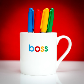 This Boss porcelain mug was designed in London and made in Stoke-on-Trent