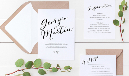 Printable wedding invitation suite - Bailey collection