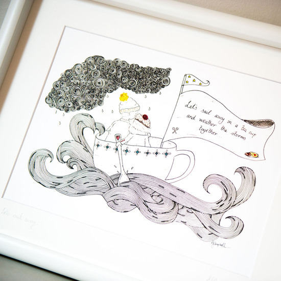 Let's sail away in a teacup hand drawn illustration