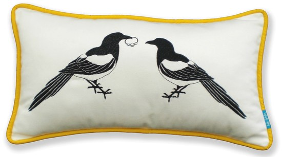Mr & Mrs Magpie Cushion