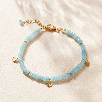 aquamarine gold disc friendship bracelet