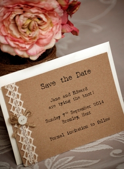 Rustic Lace and Button Save the Date invitations