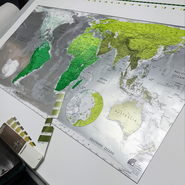 world map lithographic printing
