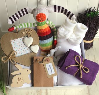 Crochet stripey bunny new baby hamper