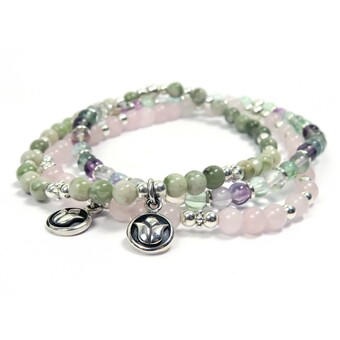 Sterling silver Lotus and gemstone stacking bracelets