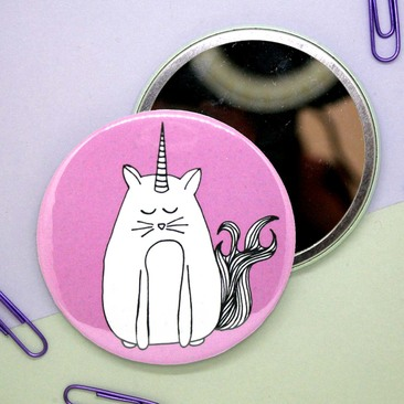 Caticorn Pocket Mirror