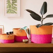 Neon pink & fiesta orange colour block baskets