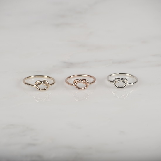 9ct Yellow, Rose and White Gold Knot Rings