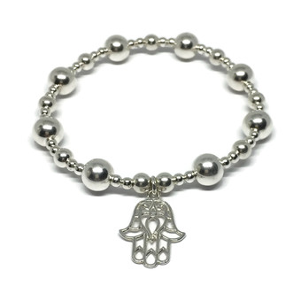 sterling silver bead bracelet with cross