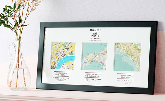 Personalised vintage map wedding gift