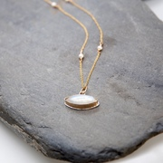 Moonstone Evil Eye Pendant on Gold Chain with Pearls by BLJ Jewellery