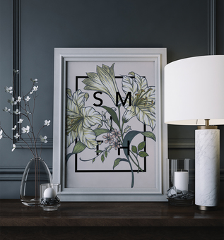 Personalised Botanical Lily Flower Print